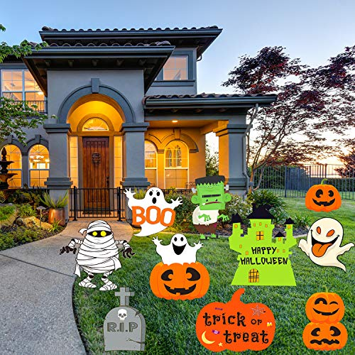 Halloween No Trick Or Treaters Sign (LUCKKYY 10PCS Halloween Decorations - Yard Sign & Outdoor Lawn Decorations Family Friendly Trick or Treat Party Plastic)
