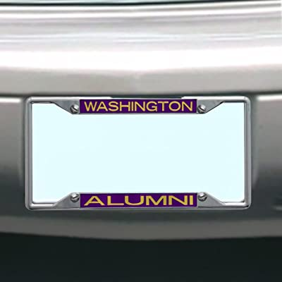 NCAA Washington Huskies License Plate Frame Alumni : Sports Fan License Plate Frames : Sports & Outdoors