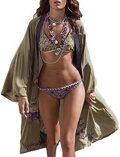 c55a92ee5a Bsubseach Womens Chiffon/Rayon Beach Blouses Kimono Cardigan Long Bikini Cover  Up