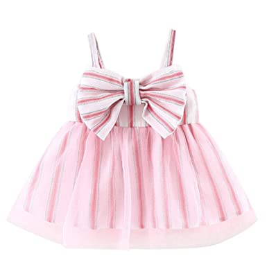 661d8ef6d9 Sagton® Summer Baby Girls Dresses Sleeveless Bowknot Sling Dress Skirt  Clothes (Pink