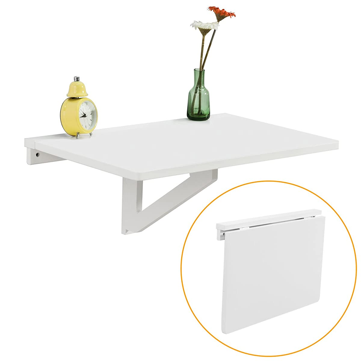 Haotian Wall-mounted Drop-leaf Table, Folding Kitchen & Dining Table Desk, Children Table,60cm(23.6in)X40cm(15.7in),White,FWT03-W,