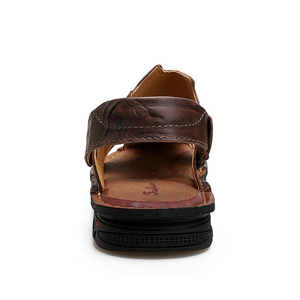 Qingqing Herren Fischer Sandalen Einstellbare Leder Breathable Sandale Rutschfeste Einstellbare Sandalen Sommer Strand Hausschuhe Herren LederSandale geschlossen Schweißabsorbiere (Farbe : Dark Braun, Größe : 41 1/3 EU) ROTdish Braun 7e9752