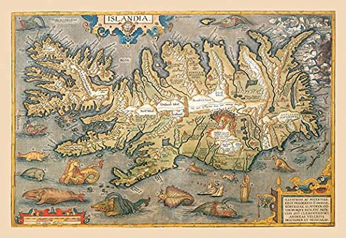 Buyenlarge 'Map of Iceland' Paper Poster, 20 by 30-Inch from Buyenlarge
