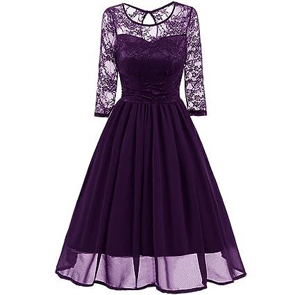 BTCD Mujeres Vintage 50 Años De Encaje Floral Retro Swing Vestido Con 3/4 De