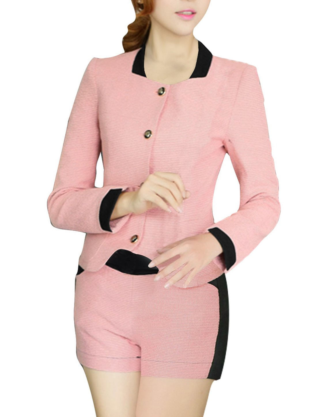 Allegra K Lady Stand Collar Long Sleeve Jacket w Zip Up Shorts Pink XS