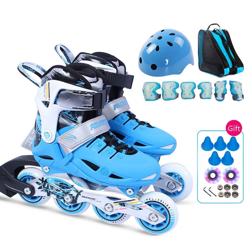 インラインスケート 3-12歳の子供用プロのインラインスケート靴、初心者用子供用単列スケート靴スピードスケート靴、サイズ調節可能 (色 : 青, サイズ さいず : Adjustable (27-30)) 青 Adjustable (27-30)