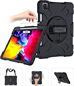 SUPFIVES iPad Pro 11 Case 2020 with Strap and Pencil Holder [Support Pencil Charging/Pairing]+Hand Strap+Shoulder Strap+Stand Heavy Duty Shockproof Case for iPad Pro 11 inch 2020 2nd Generation(Black)