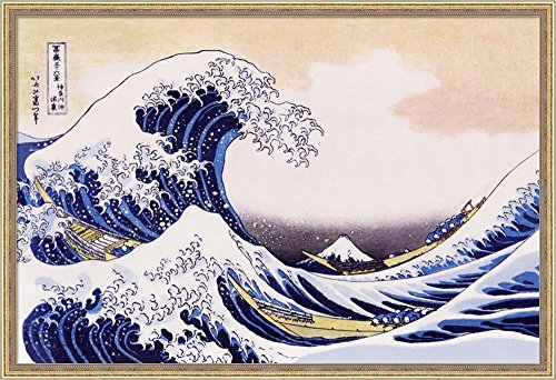 Great Wave Of Kanagawa by Katsushika Hokusai Framed Fine Art Print with Gold Value Line Frame and Clear Styrene Image Cover, Finished Size 38 inches X 26 inches Cost Frame Jersey