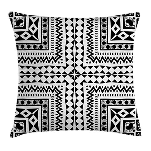 Ambesonne Tribal Decor Throw Pillow Cushion Cover by, Primitive Pattern with African Vintage Figures Dots Sketchy Lines Art Print, Decorative Square Accent Pillow Case, 24 X 24 Inches, Black White