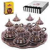 (SET of 6) Turkish Tea Glasses Set Saucers Holders Spoons Decorated (Copper) (Halkali)