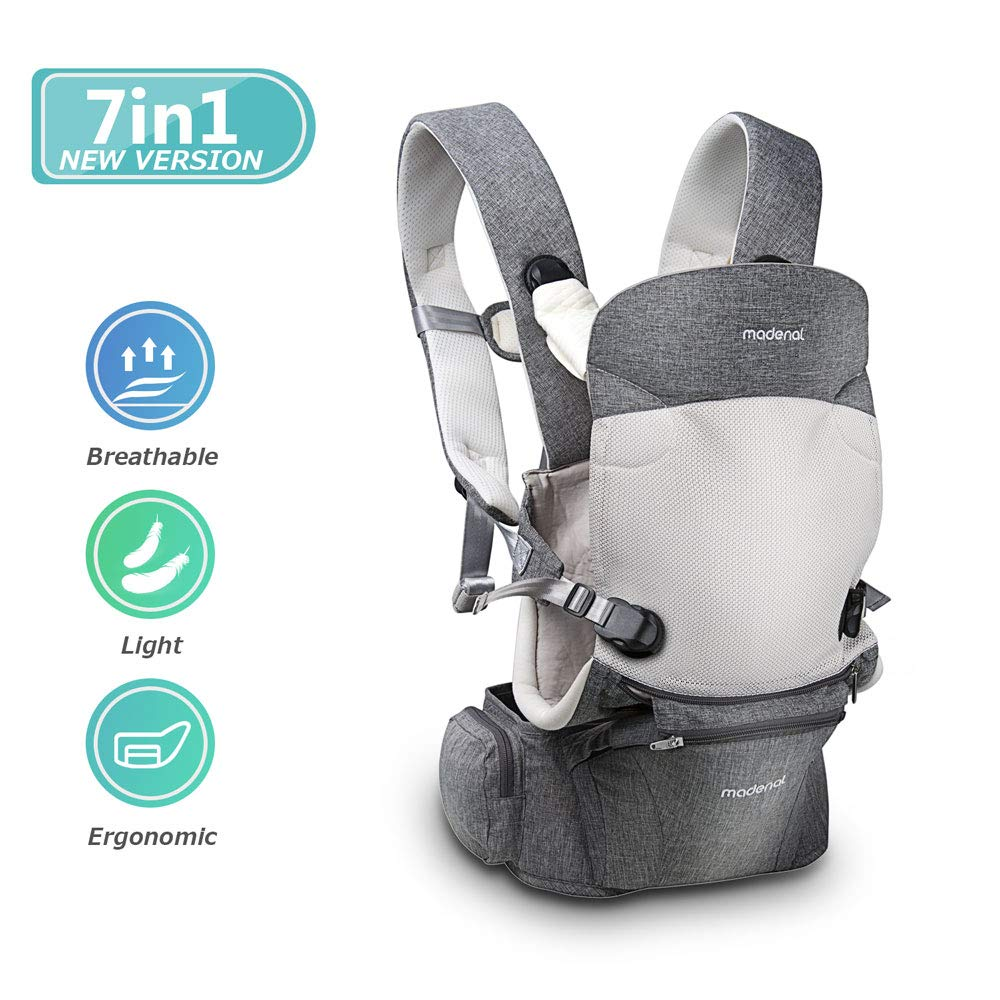 MADENAL 360º Ergonomic Baby Carrier with Hip Seat, [7 Positions for All Seasons], [for 3 – 36 Months Baby], [Adjustable Normal to Oversize for The Carrier]