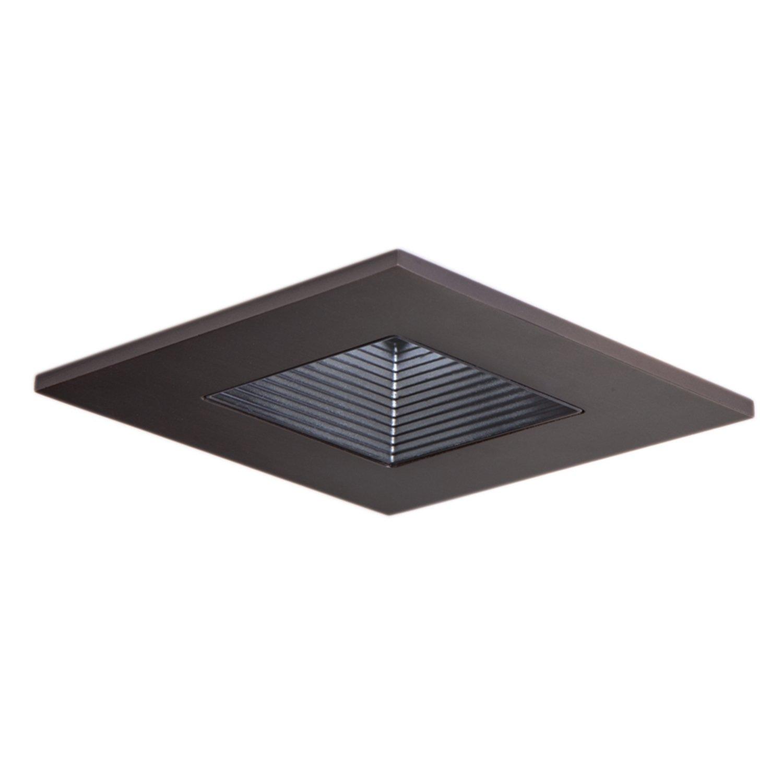 HALO Recessed 3012TBZBB 3-Inch 15-Degree Trim Lensed Square Shower Light with Black Baffle, Tuscan Bronze