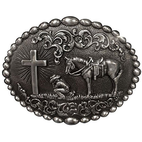 (Nocona Men's Cowboy Prayer Belt Buckle, Silver, OS)