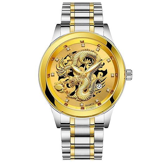 Yivise Reloj de Pulsera de Lujo para Hombre Impermeable Dragón de Oro Escultura Luminoso Cuarzo Redondo Dial de Acero Inoxidable Relojes(B): Amazon.es: ...