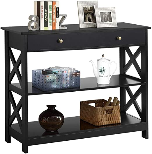 Espresso Finish 3-tier Console Sofa Entry Table with Shelf//Two Drawers