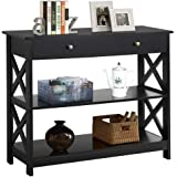 Yaheetech 3-Tier Sofa Side Console Table with 1 Drawer and 2 Storage Shelves Narrow Accent Table for Entryway/Hallway/Living