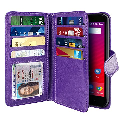 Snap Cell Phone Case (NEXTKIN Tempo X N9137 Case, Leather Dual Wallet Folio TPU Cover, 2 Large Pockets Double flap, Multi Card Slots Snap Button Strap For ZTE Tempo X N9137/Tempo Go Fanfare 3 Avid 4 Z855 5 inch - Purple)