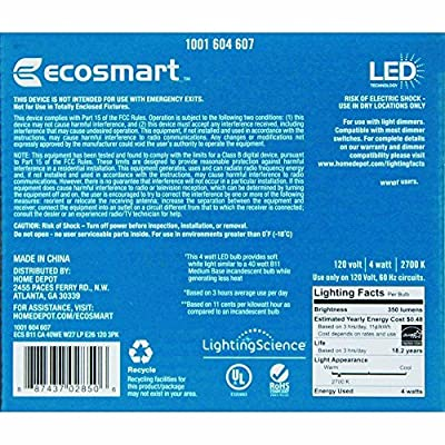 40W Equivalent Dimmable Soft White B11 LED Light Bulb (3-Pack) 1001604607