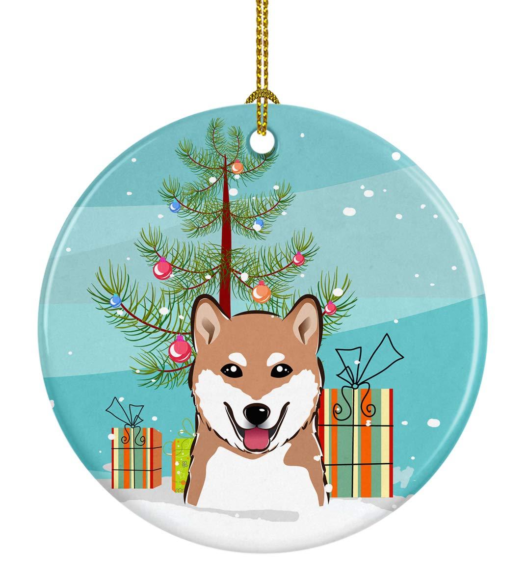 Carolines-Treasures-BB1597CO1-Christmas-Tree-and-Shiba-Inu-Ceramic-Ornament-3-in-Multicolor