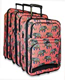 Ever Moda 3-Piece Carry On Luggage Set Rolling Suitcase, Elephant Coral Pink