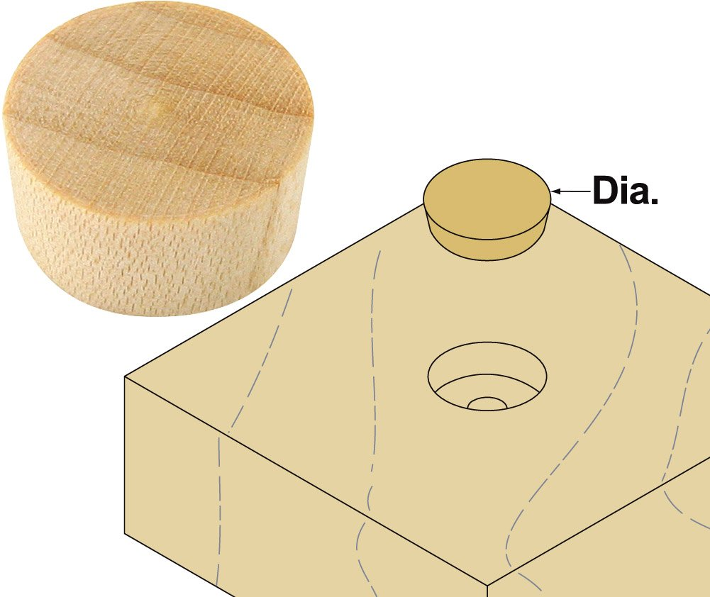 Platte River 110306, Wood Specialties, Buttons & Plugs, 1/2'' Birch Flat Head Plugs, 1000-pack