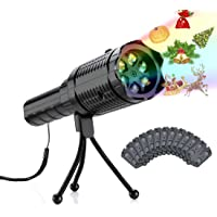 RockBirds 2-in-1 Holiday LED Projector Light & Handheld Flashlight with 12 Slides