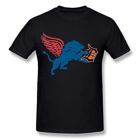 buy online fd13b b1596 HUBA Men's T-shirts DETROIT Red Wings-DETROIT Lions- DETROIT Tigers Black