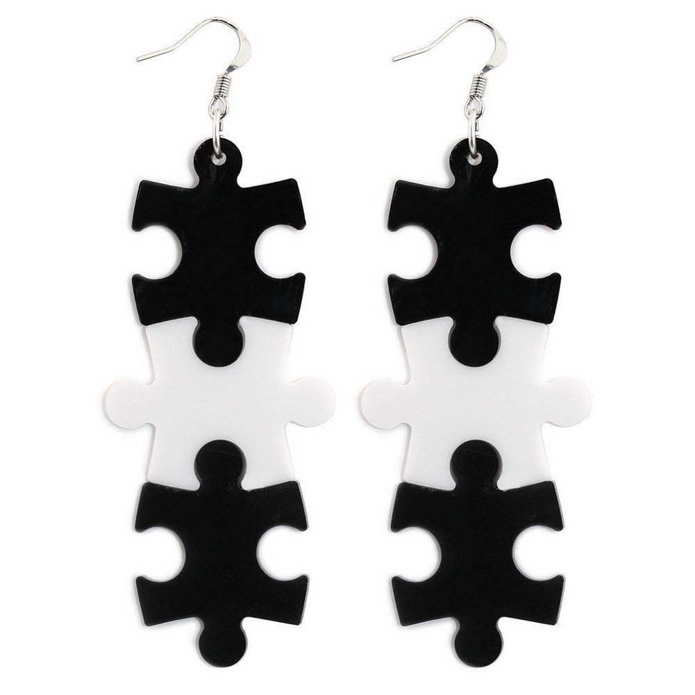 Drop Earring 3 Piece Jigsaw Made With Acrylic /& Surgical Steel by JOE COOL
