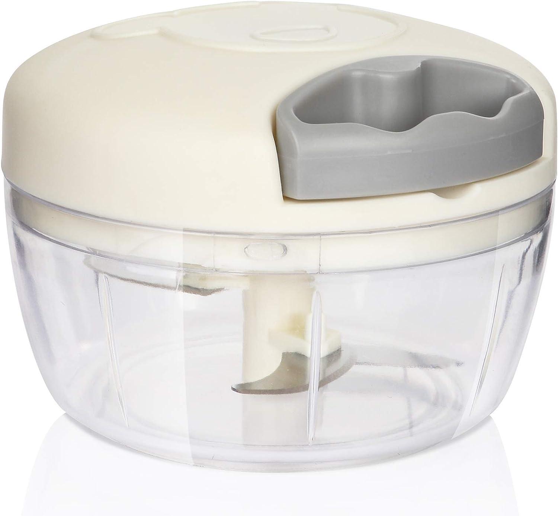 TADEMAO Mini Garlic Press Manual Food Chopper Small Hand-Powered Food Processor Newest 3-blade Mincer for Onion, Vegetable, Fruit, Meat, Chilli, Veggie, Salads