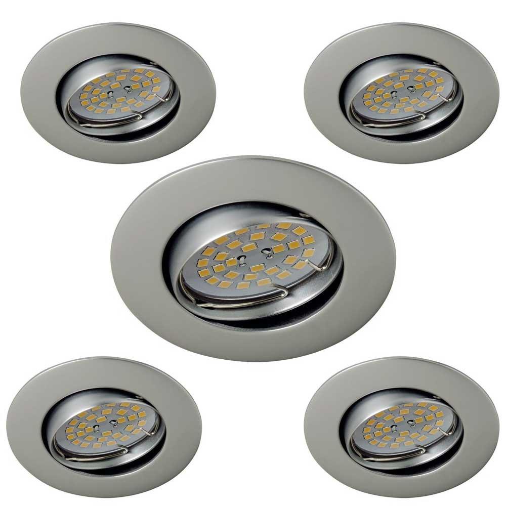 Wonderlamp Basic W-E000106 Pack de Focos Empotrables Redondos con Portalámparas, GU10, Gris, 8.5 x 1.5 cm, 5 Unidades: Amazon.es: Iluminación
