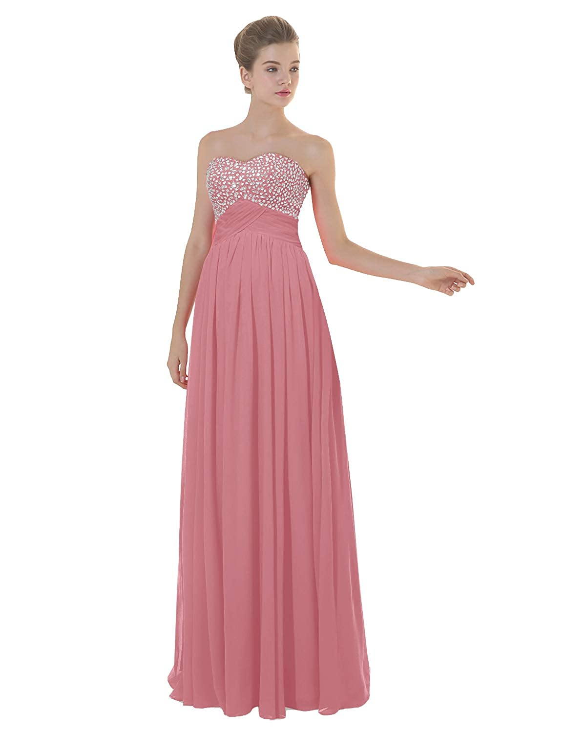 Dusky Pink ANGELWARDROBE Empire Beaded Sweetheart Neck Prom Gowns Long Evening Dresses Party Skirts