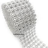 LolaSaturdays 4''x 30FT Diamond Rhinestone Ribbon Wrap Roll- Cake and party decoration (flower, silver)