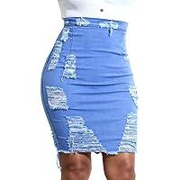 Juleya Mujer Retro Azul Corto Falda de Mezclilla