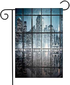 Zmstroy – Bandera de jardín Plegable Moderna Biblioteca librero con una Escalera Escuela educación Campus Vida Caricatura ilustración Doble Costura: Amazon.es: Jardín