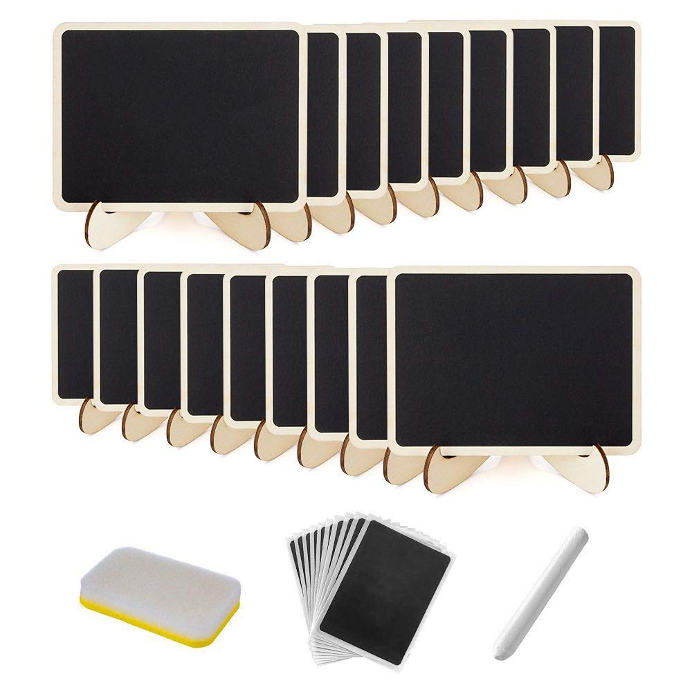 18 Pack Mini Chalkboard with Easel Stand, Wood Rectangle Small Chalkboards, Mini Chalkboard Signs for Weddings, Parties, Message Board Signs and Event Decoration JTDOT