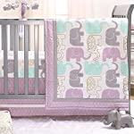 Lambs & Ivy Sweet Owl Dreams Pink Heart Nursery 6-Piece Baby Crib Bedding Set