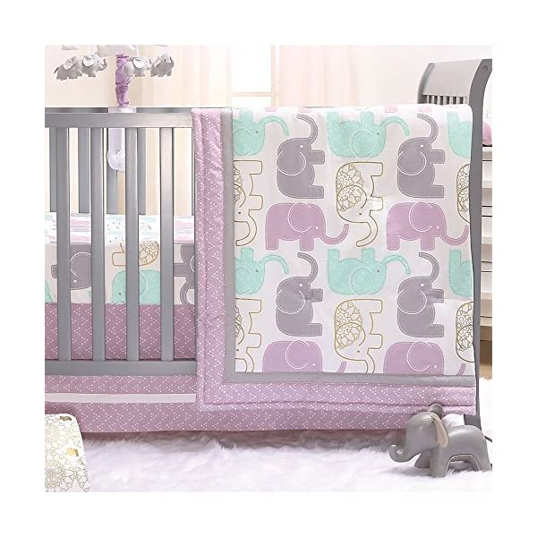 Little Peanut Lilac Purple and Gold Elephants 3 Piece Baby Crib Bedding Set