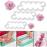 Bluecookies 3PCS 3D Rose Flower Cutter Mold Fondant Cake Decorating Maker Mould