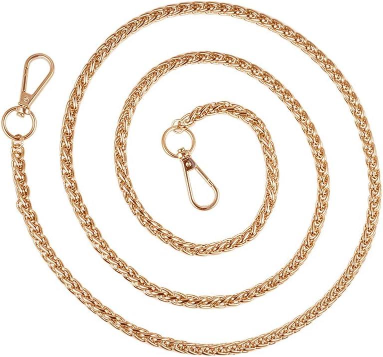 PandaHall Elite - Cadenas con correa para bolsa, hierro, Dorado-1 hebra, 127cm
