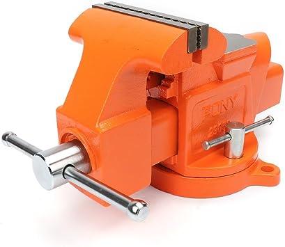 PONY 4-inch Heavy Duty Bench Vise Jaw Width 4-inch Throat Depth 2-5//8-inch ...