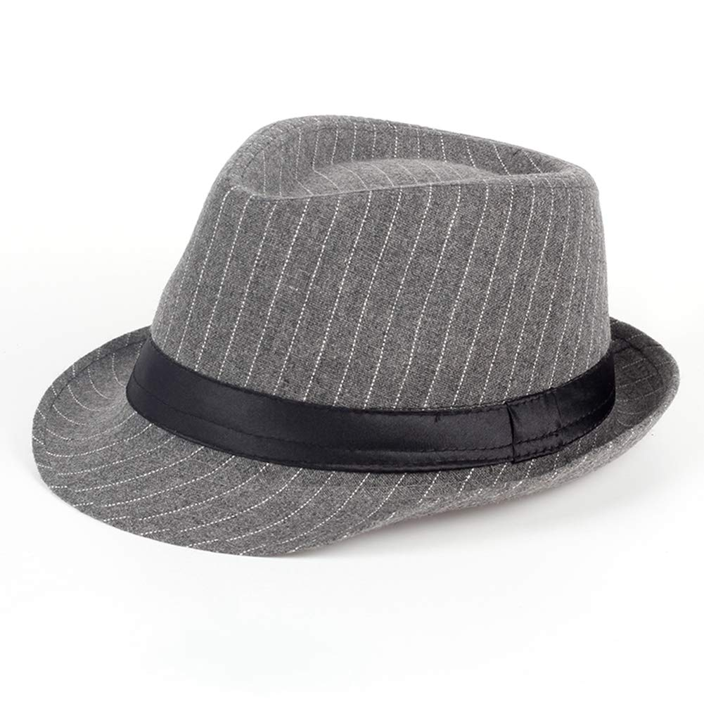 Unisex Pinstripe Short Brim Fedora Hat Cuban Style Trilby Hat Vintage Popular Gangster Cap