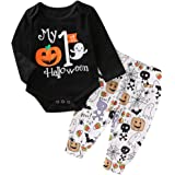 niceclould Newborn Baby Boy Girl 1st Halloween Costume Outfits Clothes Pumpkin Bodysuit+Stripe Pants+Hat 3Pcs Set