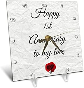 3dRose Happy 1st Anniversary to My Love on Faux Paper-Like Background - Desk Clock, 6 by 6-Inch (dc_221892_1)