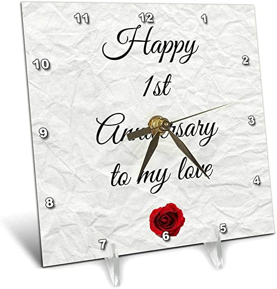 3dRose Happy 1st Anniversary to My Love on Faux Paper-Like Background – Desk Clock, 6 by 6-Inch dc_221892_1