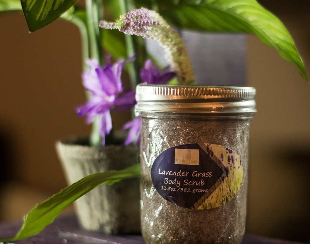 Lavender Body Scrub by A Caring Touch Skin Therapy, Inc. 7.3 oz made with our special formulation of organic sugar and salts