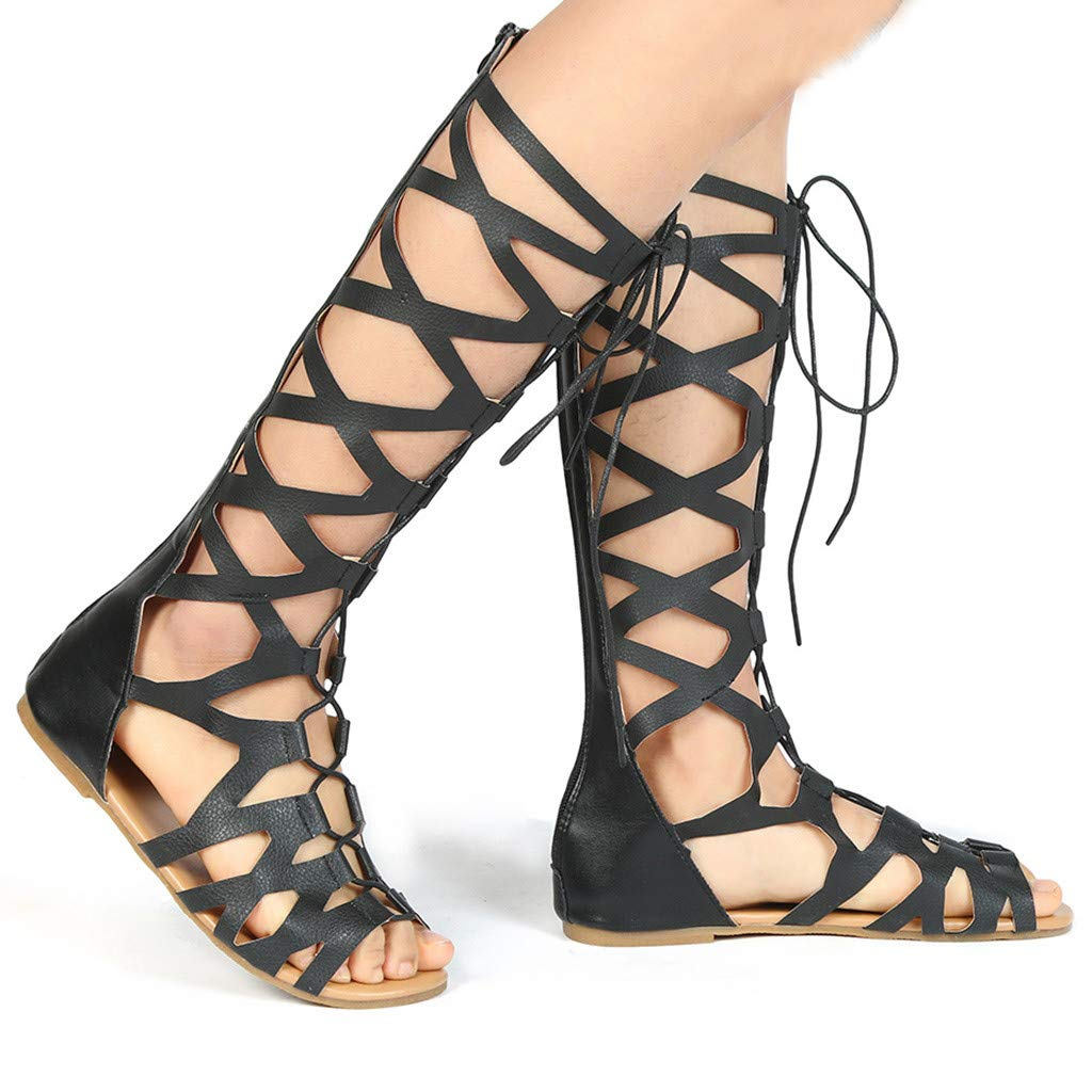 Women Casual Flats Knee High Boots - Ladies Fashion Roma Shoes Summer Sandals,2019 New by WOMEN SHOES BIG PROMOTION-SUNSEE (Image #5)