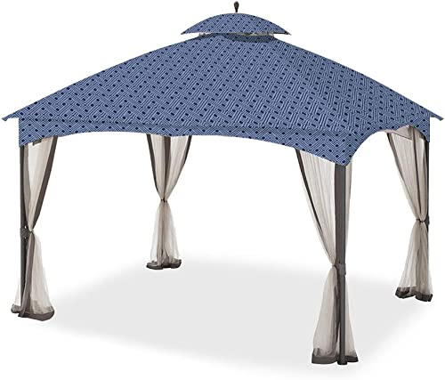 Garden Winds Replacement Canopy for The Massillon Biscayne Gazebo – Standard 350 – Midnight Trellis