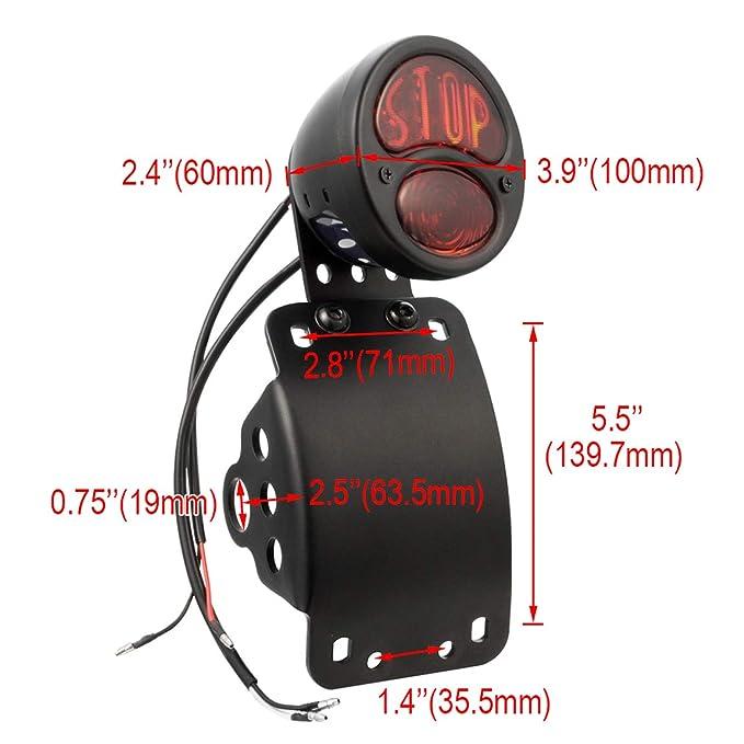 PBYMT Side Mount LED STOP Brake Tail Light 3//4 Axle Hole License Plate Bracket Compatible for Harley Bobber Chopper Sporster Honda Yamaha Suzuki Kawasa