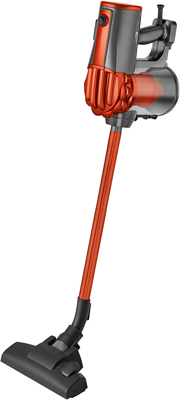 Clatronic BS-1306 Aspirador escoba ciclónico, sin bolsa, uso vertical y de mano, 600 W, Acero Inoxidable, Naranja