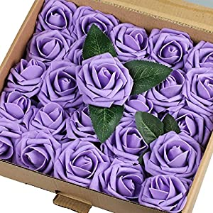 Vlovelife Artificial Flowers with Stem, 25pcs Lavender Real Looking Roses, Fake Rose Flowers with Stem for DIY Wedding Bouquets Centerpieces Arrangements Birthday Baby Shower Home Party Decor